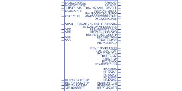 8 bit tqfp-44 pic18 48MhZ Microchip pic18lf4550-i // PT ATMEGA
